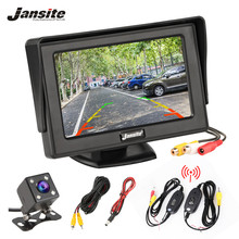 купить Jansite 4.3 Inch TFT LCD Car Monitor Display Wireless Cameras Reverse Camera Parking System for Car Rearview Monitors NTSC PAL дешево