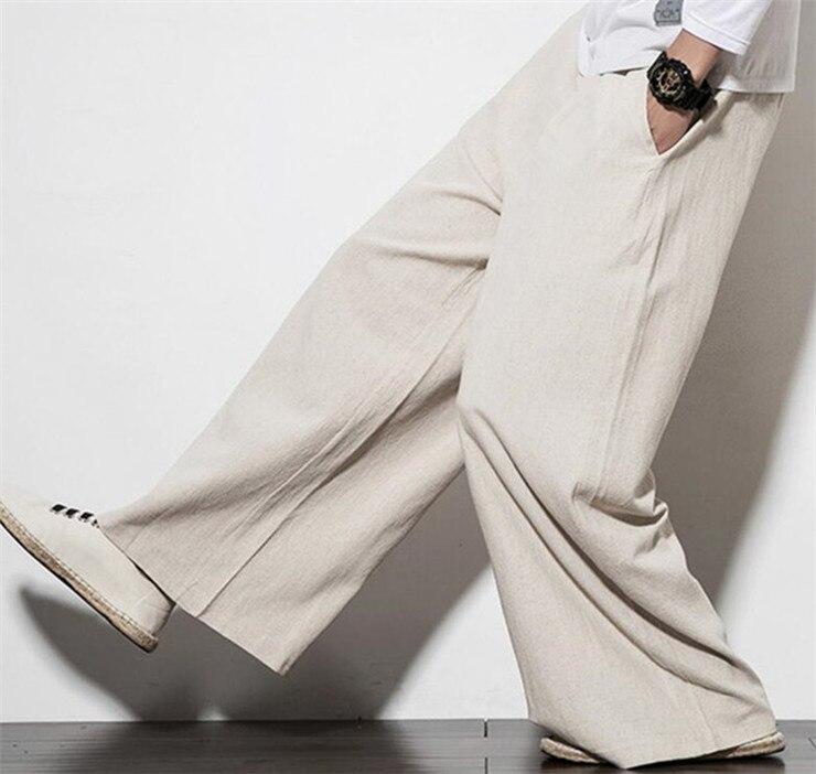 2019 Autumn Plus Size Hip Hop Wide Leg Pants Men Casual Loose Trousers Big Size Cotton Linen Pants Joggers M-5XL 6xl 7xl