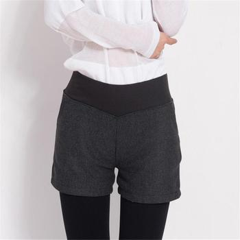 New Autumn Winter Women's Clothing Slim wild Pocket Contrast Color Shorts Female Woolen Crimping Short Pants thick Download D016 6