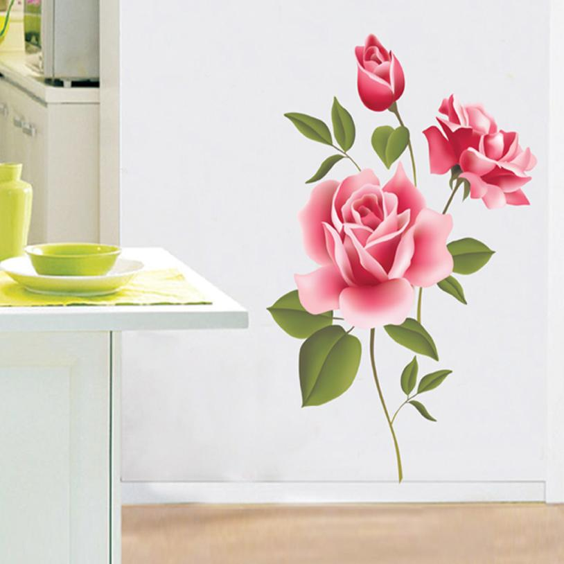 Home Decor Rose Flower Wall Stickers Removable Decal Home Decor DIY Art Decoration wall sticker Home Deco mirror AU2