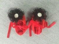 Красный и черный ходьбы обувь крестины обувь Крещение Свадьба для девочек в цветочек обувь