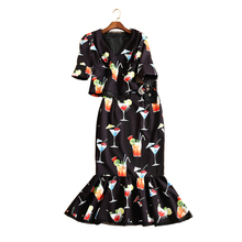 2017 Spring/summer fashion lady sets slim printing V-neck tops fishtail skirts suits S-XL size for option