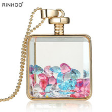 2018 Fashion memory glass locket pendant necklaces trendy crystal charms inside bottle Jewelry Necklace women Gift free shipping(China)