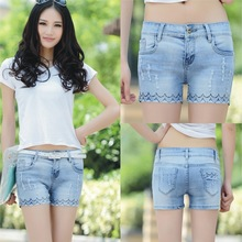 Весной и летом 2016 Корейских женщин талия Джинсовые Шорты Большой Размер Женщин джинсы оптом женские разное