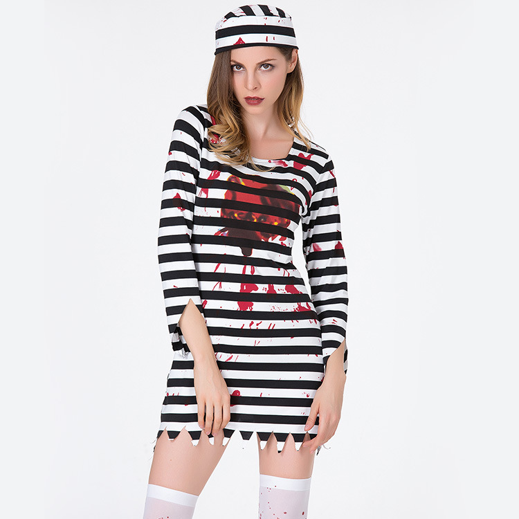 369362ac33694 Halloween Purim Scary Striped Blood Zombie Corpse Costume Adult Costumes  Cosplay Dress For Women Party Cosplay devil-in Scary Costumes from Novelty  ...