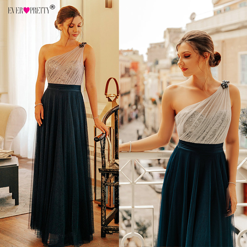 Prom Dress Long 2020 Elegant Ever Pretty EP07404 Sexy Sleeveless Backless A-line Tulle Robe De Soiree Navy Blue Party Dress