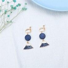 Japan Korean Creative Funny Cartoon Wood Mount Fuji Woman Girls Clips Earrings Fashion Jewelry-LAF