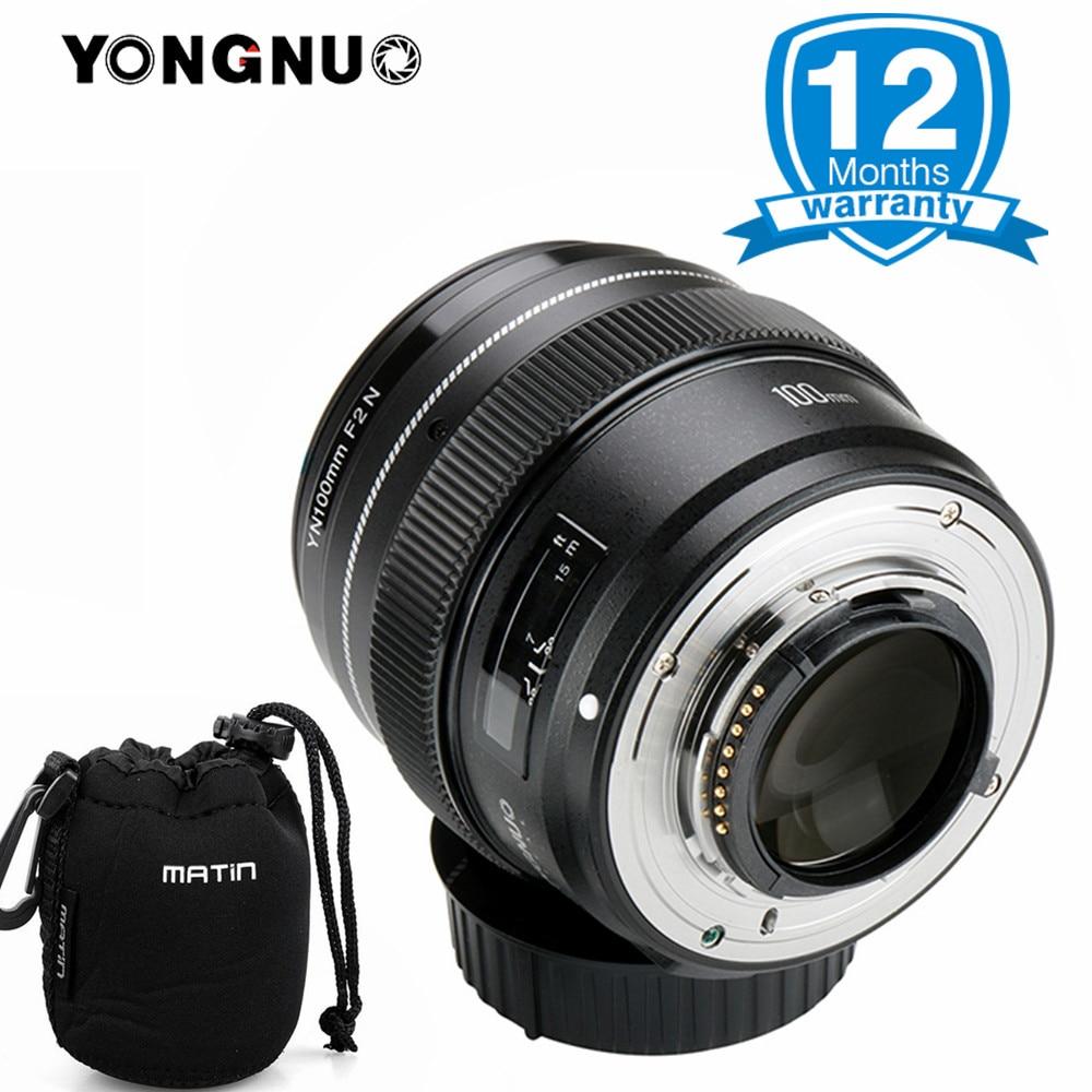 Yongnuo 100mm F2 Lentille Grande Ouverture AF/MF Moyen Téléobjectif à Focale fixe Lente Macro YN100mm Objectif pour Nikon D7200 d7100 D7000 Caméra