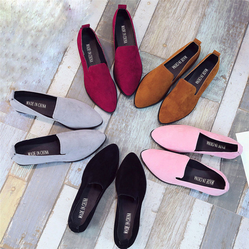 Women Ladies Slip On Flat Sandals Casual Shoes Solid Fashion Loafer Female frosted face pointed plain flat shoes single shoes#40