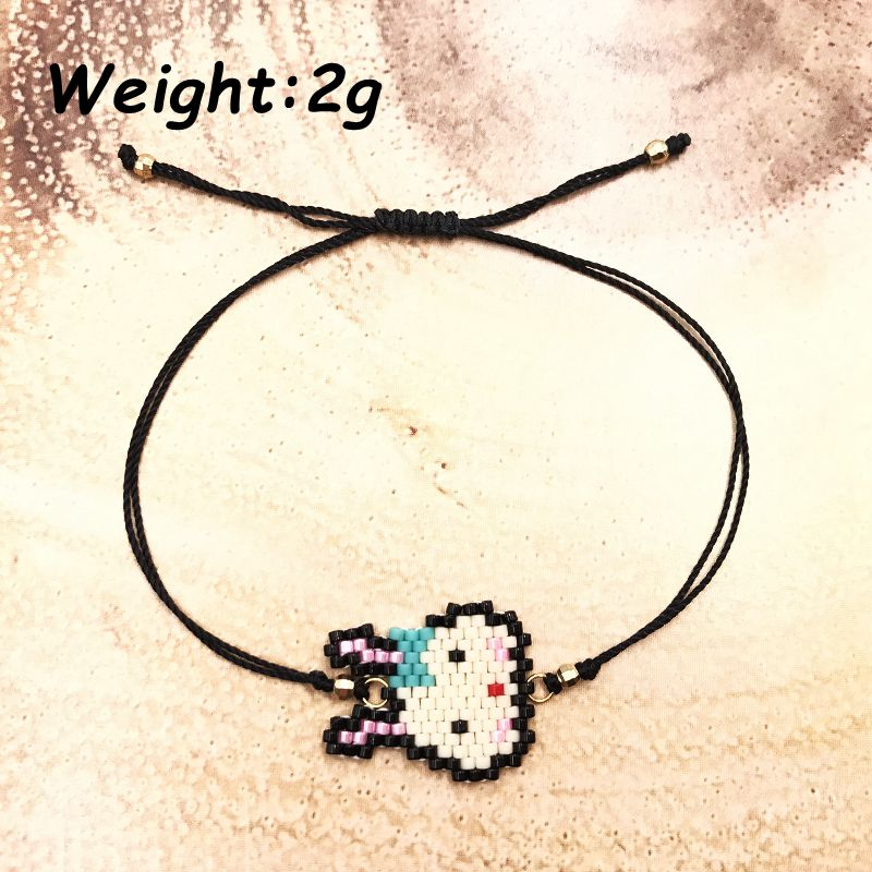 FAIRYWOO New Fashion Woman Cute Rabbit Bracelet Boho Charm Bangles Crystal Bracelets Imported Glass Miyuki Beads Rope Adjustable in Charm Bracelets from Jewelry Accessories