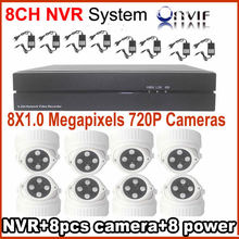 8CH 720P 1080P DVR NVR Residence CCTV Safety Digicam Surveillance System 8pcs 1.0MP Indoor use Evening Imaginative and prescient dome Digicam Assist P2P