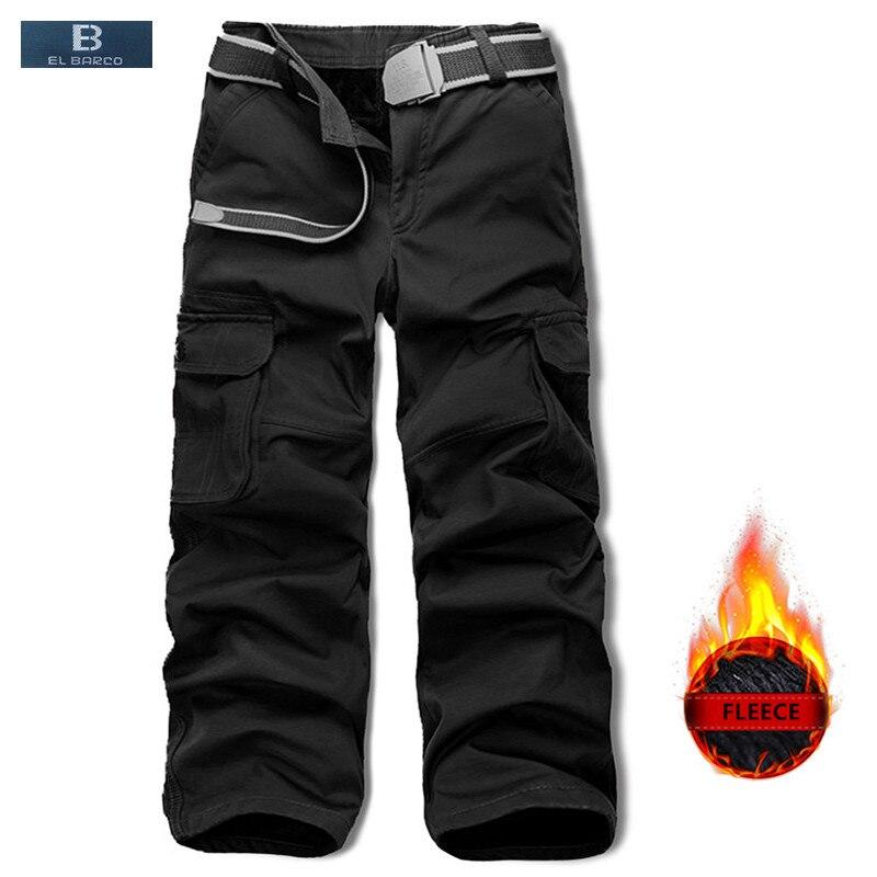 [EL BARCO] Cotton Fleece Casual Pants Men Winter Warm Soft Black Army Green Male Cargo Pants Zip Pockets Full Military Trousers