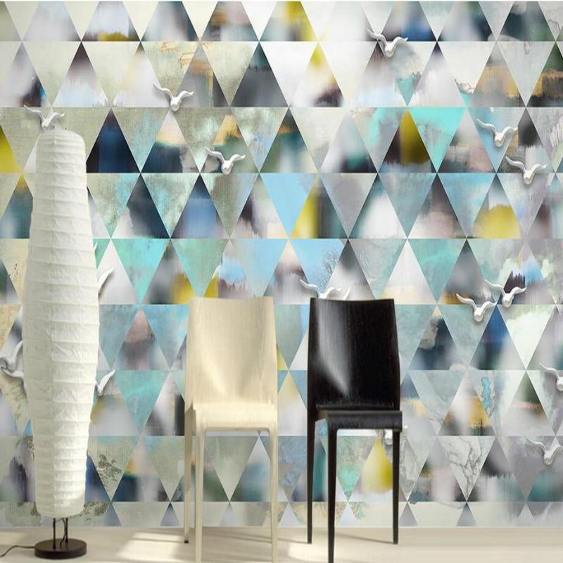 Custom 3d Wall Paper Wallpaper for Walls 3d Modern Simple Diamond Geometry Wallpaper Murals Bedroom Home Improvement Decoration