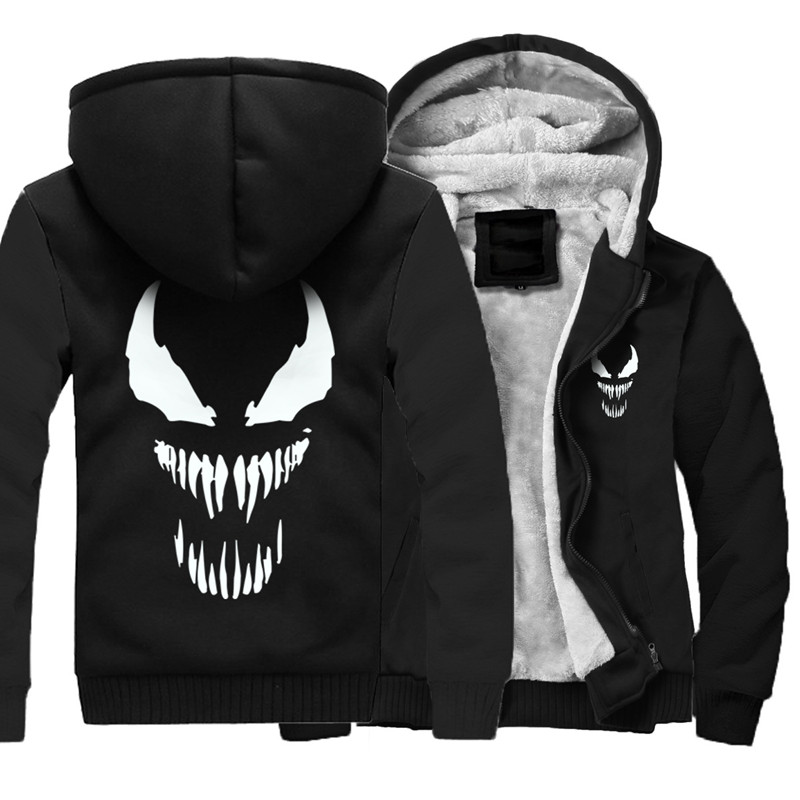 Men's Winter Thick Jacket Black SpiderMan Men Coat Hooded Sweatshirt With Polyster Villus Lining