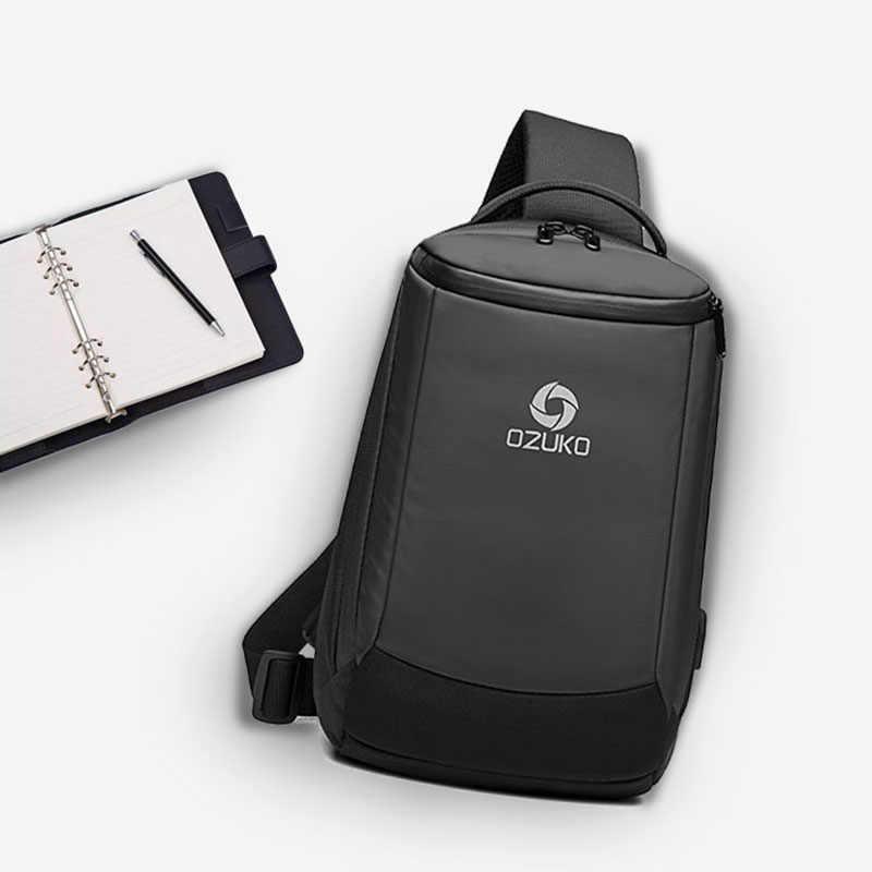 Ozuko Pria Baru USB Pengisian Dada Tas Anti Air Tas Selempang Pria Kapasitas Besar Tas Bahu Perjalanan Singkat Utusan tas