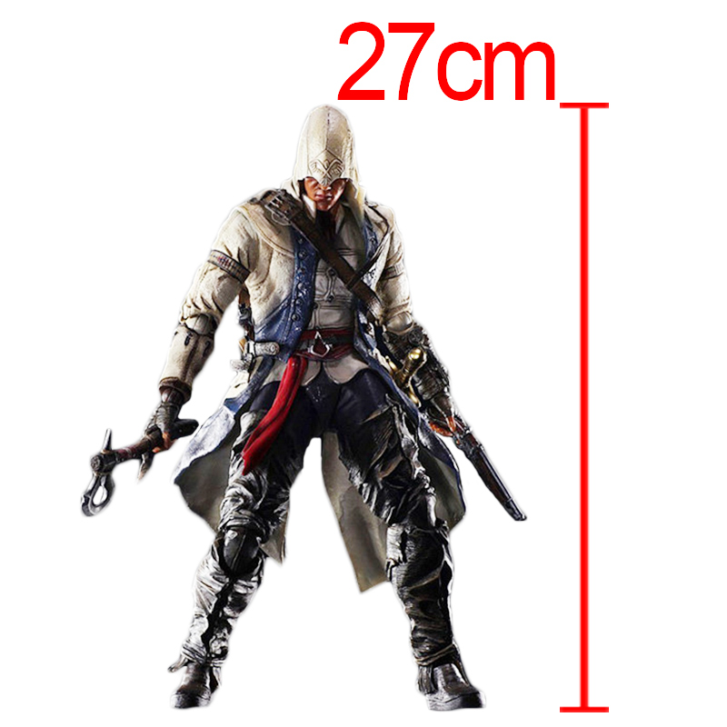 C&F Assassin's Creed Action Figure Toys Connor Kenway 27 CM Colorful PVC Model Collectible Garage Kits Toys For Gifts neca assassins creed 3 connor the hunter figurine classic game pvc action figures juguetes doll kids hot toys for children men