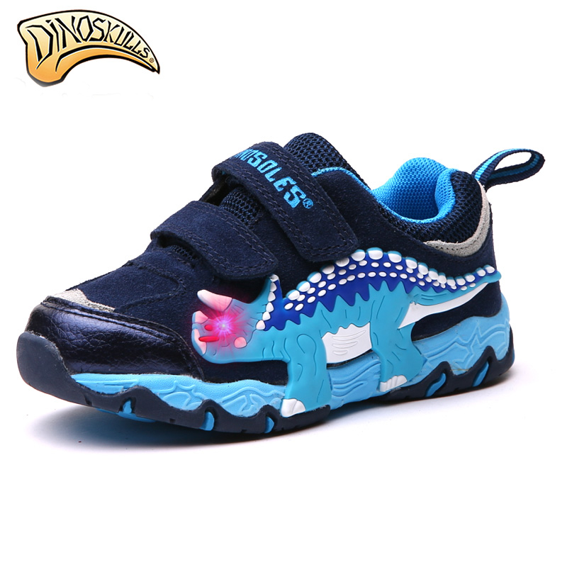 Dinoskulls 2019 Boys Dinosaur Glowing Shoes Children s Light Up Shoes Kid Sneakers Fashion Baby Boys