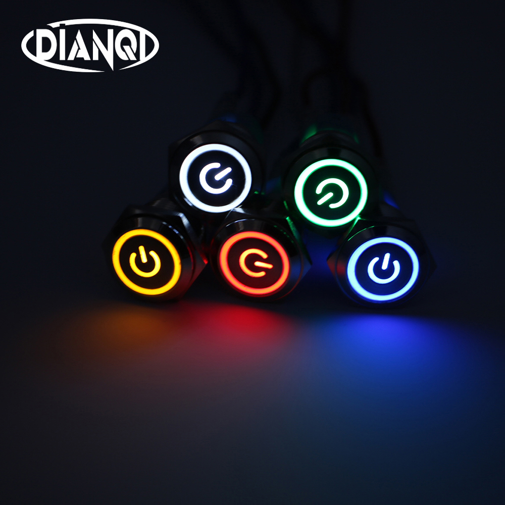 16mm Metal Push Button Switch LED power mark locking Latching Self-reset Momentary 1NO 1NC red blue yellow green white 16HXDY 1no 1nc latching type 16mm round metal power push button switch 5pin multicolor ring led angel eye power symbol switch 12v 24v
