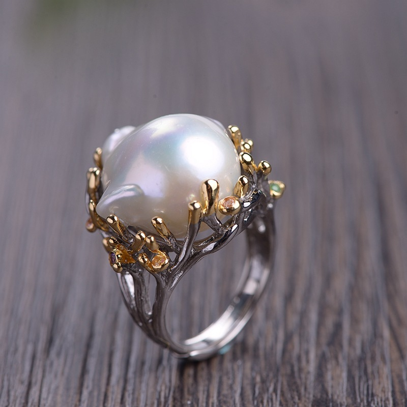 restoring ancient ways is technology Female money silver plated with natural pearl ring Fashion jewelry wholesale