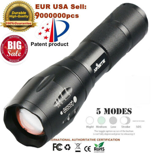 Outdoor Tactical LED T6 50000LM Lamp Flashlight Zoomable Torch 5-Mode 18650