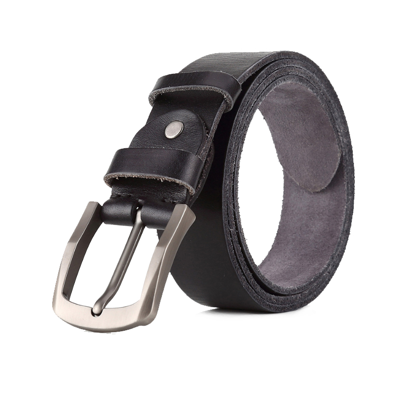 Winter leather belt men genuine leather belts for men sliver buckle men jean's strap brown color width thong