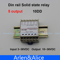 10DD Din Rail SSR Quintuplicate Five 5 Input 3 36VDC Output 10 36VDC Single Phase DC