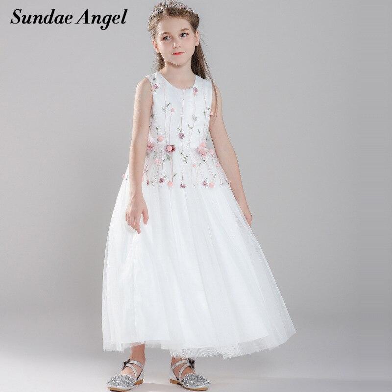 Sundae ange bébé fille robe formelle princesse broderie feuilles vertes Venonat dentelle enfants robes pour filles robe de mariée élégante