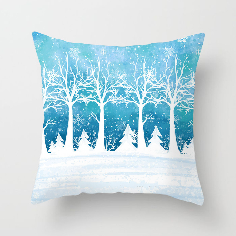 Winter Snowflake Print Cushion Cover Christmas Tree Deer Snow Scene Decorative Pillowcase Sofa Bed Living Room Sweet Home Decor in Cushion Cover from Home Garden