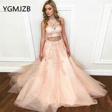 ceee7f31a2 Elegante dos piezas vestidos largos de baile 2019 vestido Halter con cuentas  Apliques de encaje de las mujeres vestido de noche .