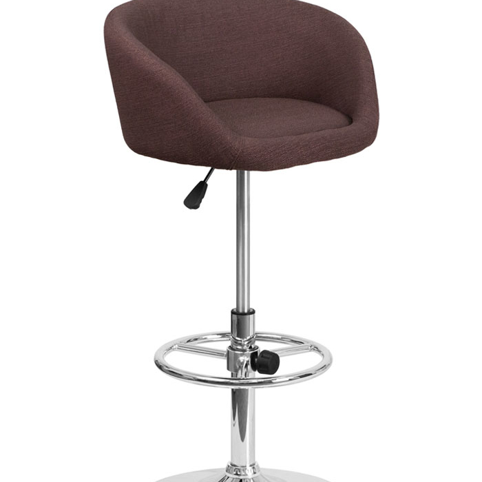 Flash Furniture Brown Fabric Adjustable Height Barstool with Chrome Base ...