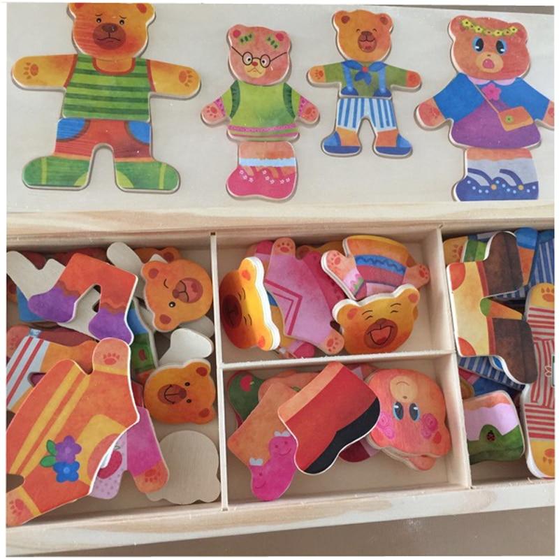 Blocs de jouets en bois Jigsaw Animal Bear Vêtements robes robes de - Jeux et casse-tête - Photo 4