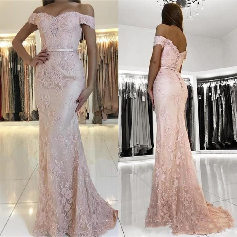 2019 New Sexy Mermaid   Prom     Dress   with Lace Appliques Sequins Beading Off Shoulder Plus Size Formal Party   Dress   Evening Gowns