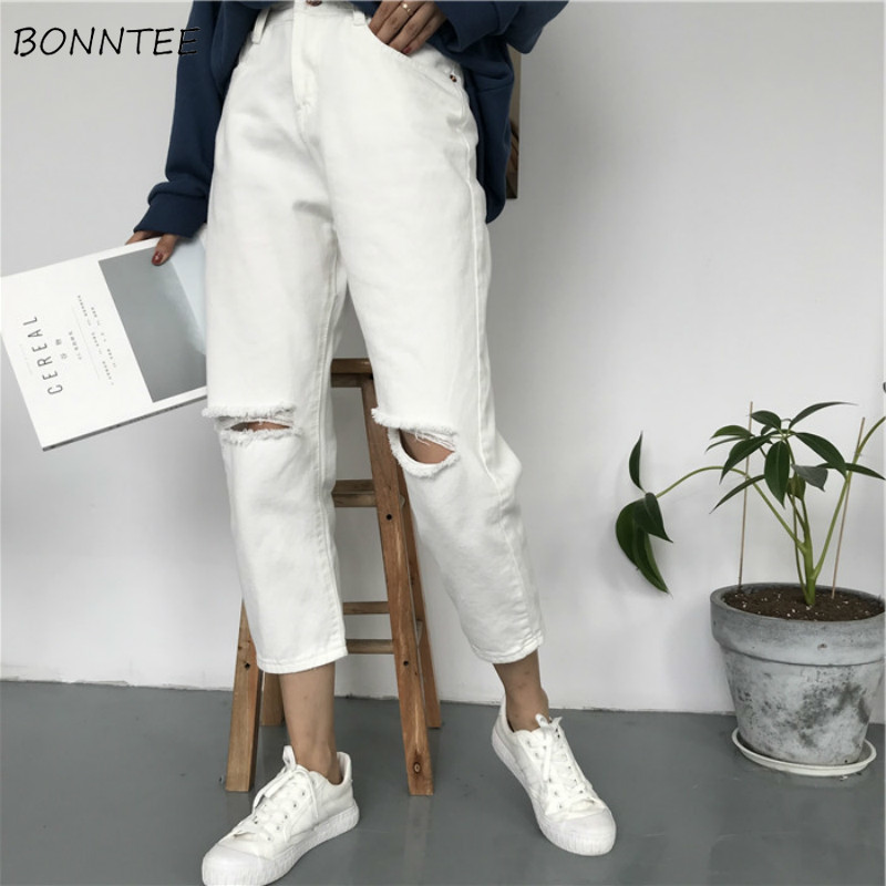 Jeans Women Solid Trendy Elegant All-match High-quality Korean Style Leisure Daily Womens Female Lovely Simple 2019 Pockets