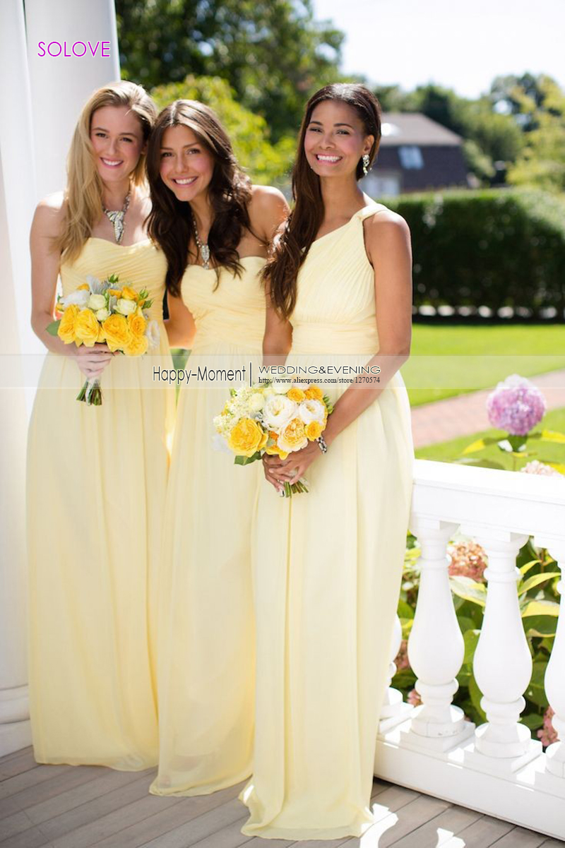 Compare prices on beach wedding dresses bridesmaids online new arrival yellow pleat beach bridesmaid dress wedding party gown chiffon bridesmaid dress vestido de dama ombrellifo Choice Image