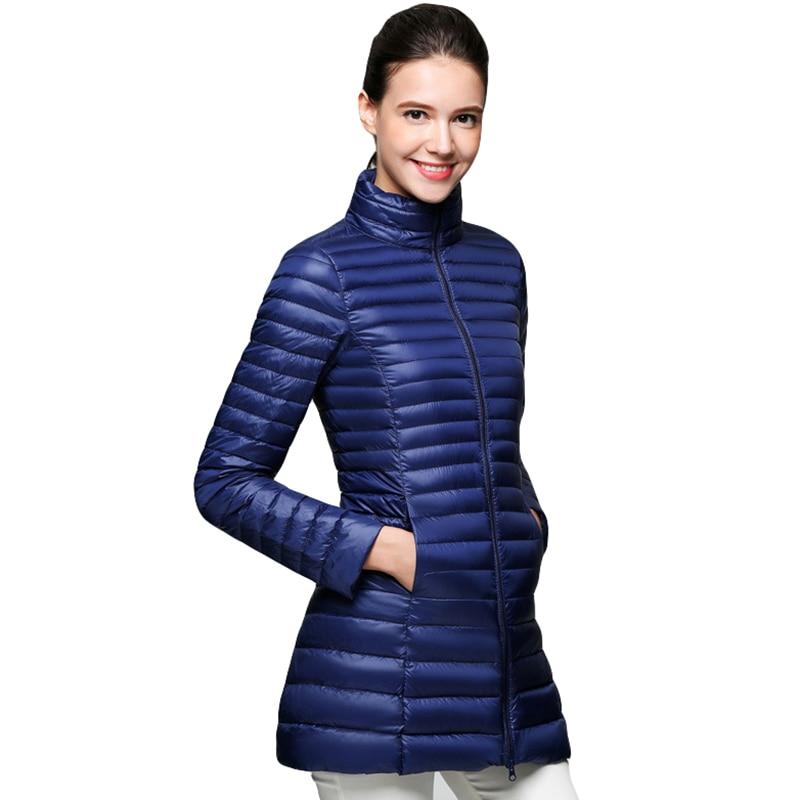 Plus Size Women Ultra Light   Down     Coat   Autumn Winter Thin Slim Long   Down   Jackets Female Casual 90% White Duck   Down     Coats   FP0946