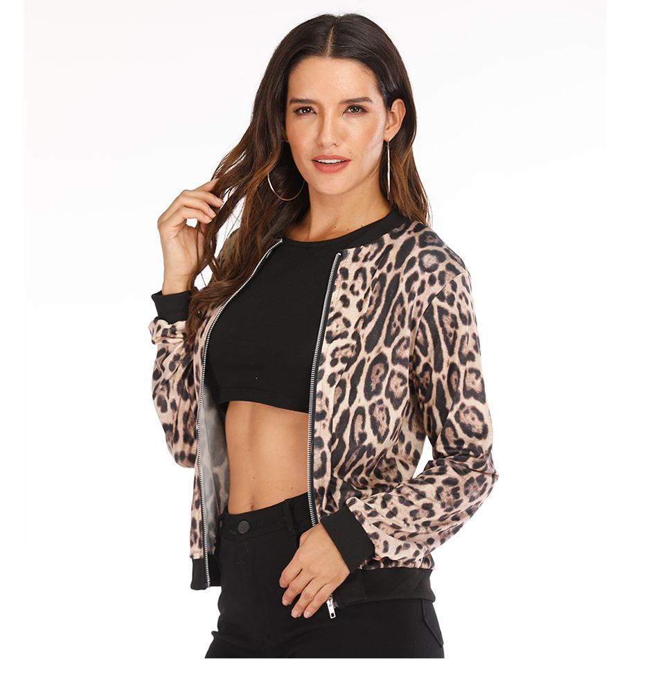 Rose Leopard Spring Women's Jackets Plus Size Short Female Coat Zipper Chaqueta Long Sleeve Polka Dot Women Bomber Jacket 15