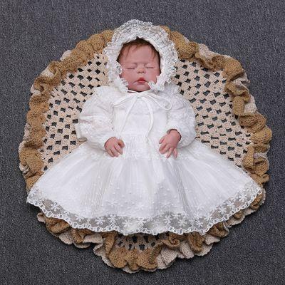 2019 Baby Girl Dress Long Sleeve Christening Dress Lace Baptism Dress for Newborn Baby White Dress with Hat for Baby Girl2019 Baby Girl Dress Long Sleeve Christening Dress Lace Baptism Dress for Newborn Baby White Dress with Hat for Baby Girl