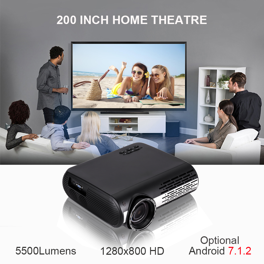VIVICINE 1080p HD Projector,Option Android 7.1 WiFi Bluetooth Home Theater LED Video Game Projector Beamer 5500Lumens Proyectors