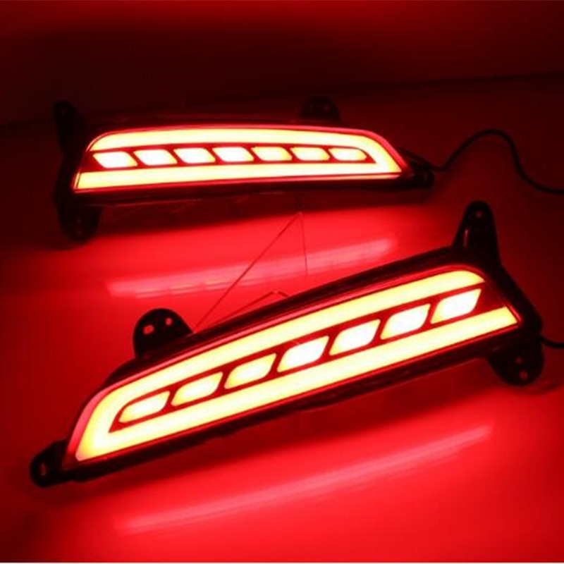 2pcs Car Tail Light For Hyundai creta ix25 2015 2016 LED DRL Rear Bumper tail light fog lamp Brake Lights Signal Warning lamp