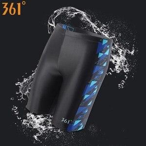 Image 1 - 361 Chlorine Resistant Swimwear for Men Long Swimming Trunks Professional Men Swim Wear Athletic Tight Swim Shorts Boys Swimsuit