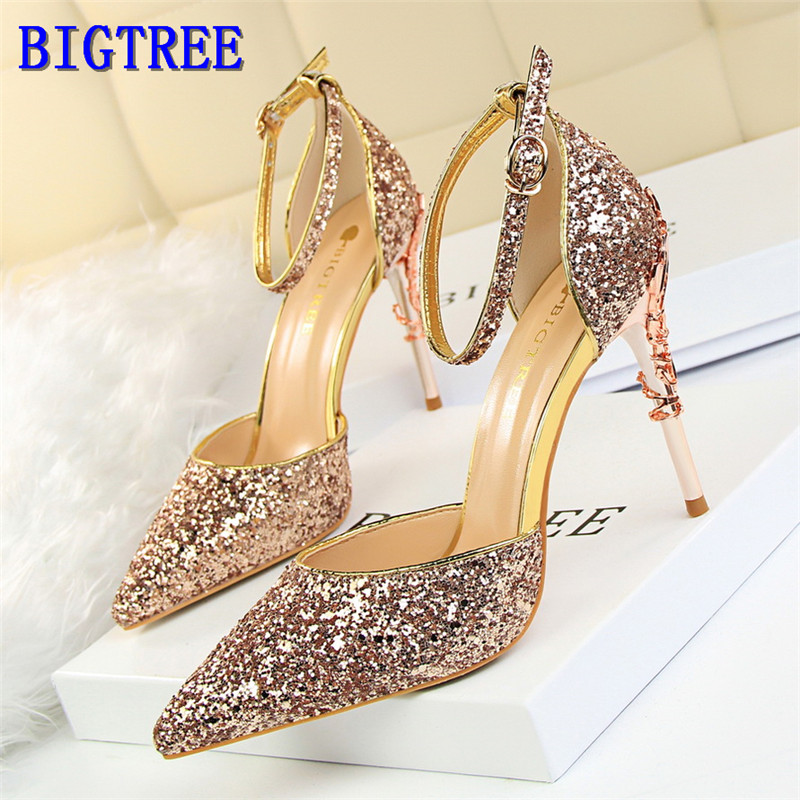 BIGTREE Hot Star Bling Ankle Buckle Women Sandals Fashion Carved Metal Heels Party Shoes Pointed Shallow High-Heeled Shoes Woman