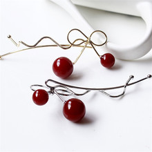 1Pc Sweet Fashion Designer Romantic Women Girls Korean Cherry Shaped Bow Hairpin Elegant Twist Hair Clip Headdress Gifts(China)