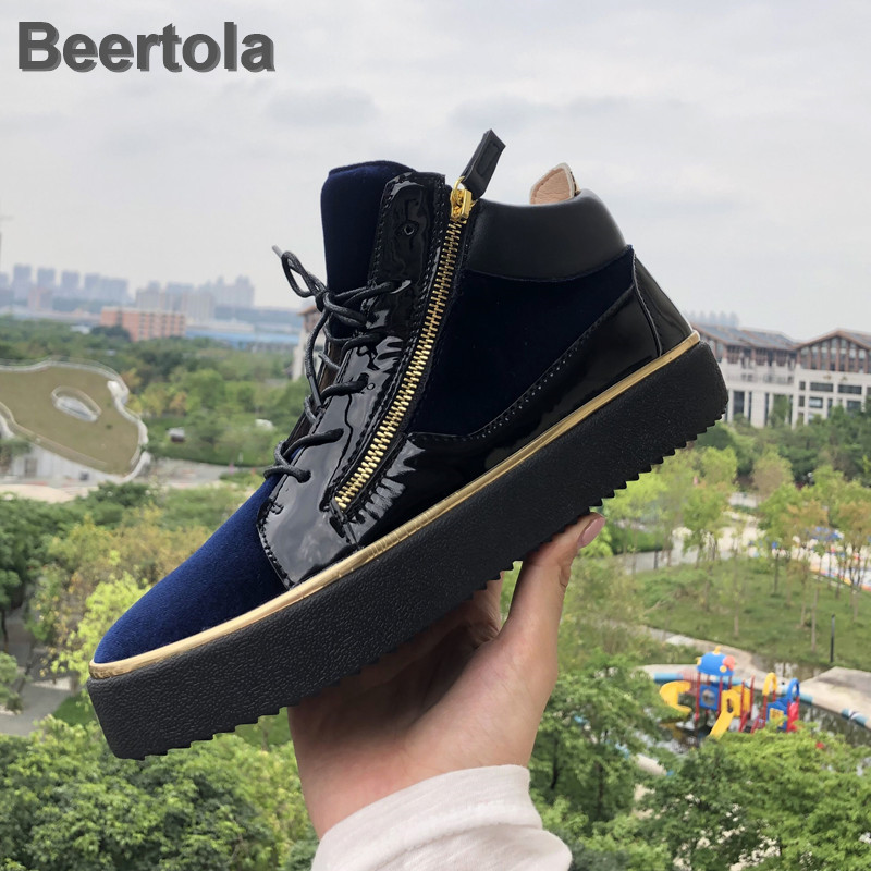 Sneakers Women Designer Zipper Platform Shoes Gold Bordered Shos Woman Mixed Colors Women Sports Shoes Sneakers Patent Leather