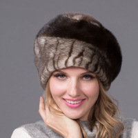 Autumn and winter women's fur hat leather rhinestone fur hat with diamond fashion hot women's beret quality earmuffs DHY 43