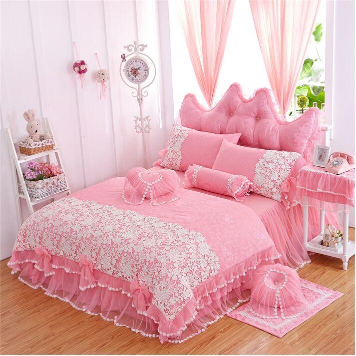 Кружевное постельное покрывало в Корейском стиле для принцессы, Комплект постельного белья, двойной, полный, Королевский размер, розовый/фи