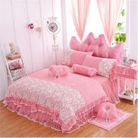 Korean princess lace bedspread bedding set twin full queen king size pink/purple/red ruffle lace wedding bedskirt free shipping