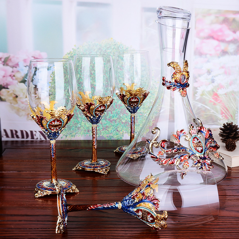 High grade enamel red wine glass cup decanter set goblet glass cups Crystal champagne glasses Wedding