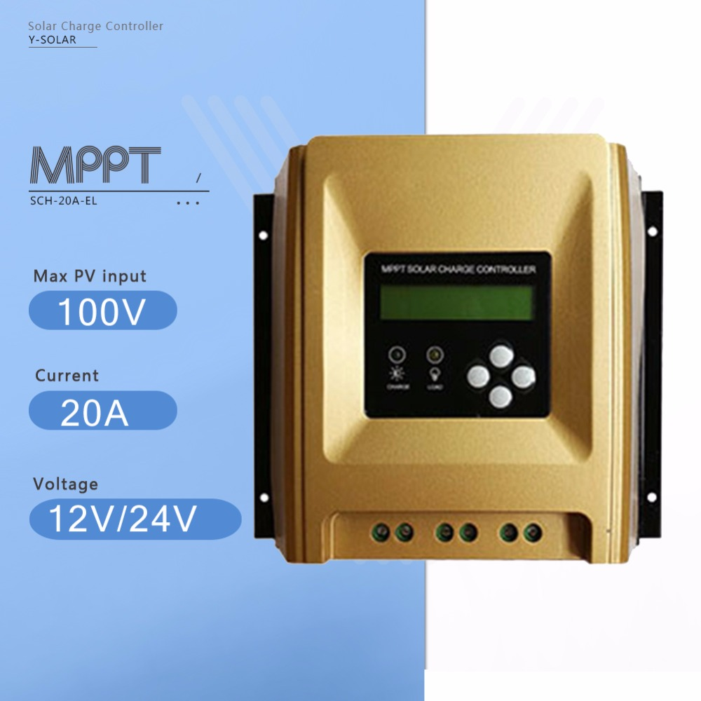 SCH-20A-EL 20A MPPT Solar Charge Controller 12V/24V Auto Solar  Battery Charge Regulator with LCD Display and Heatsink Cooling 12v 24v 36v 48v 70a mppt solar controller for max 150v lcd solar regulator with heatsink cooling rs485 communication port new