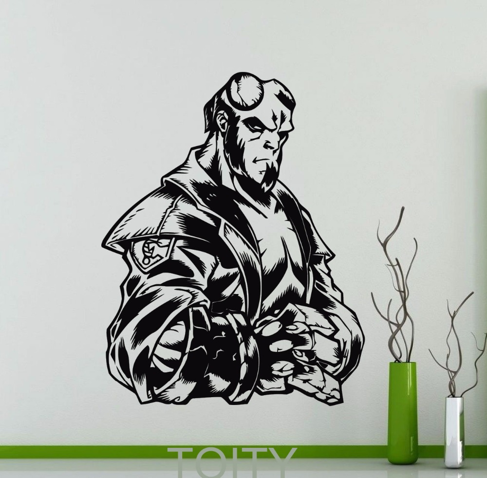 Hellboy Poster Wall Sticker DC Marvel Comics Superhero Vinyl Decal - Superhero vinyl wall decals