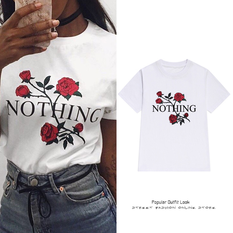 3XL Plus Size Nothing Letter Print Rose Harajuku T Shirt Women 2017 Summer Casual Short Sleeve